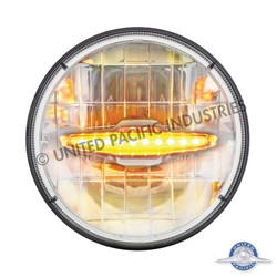 """UPAC 7"""" High Power LED Dual Function Headlight with 10 Amber LED Auxiliary Light Bar"""