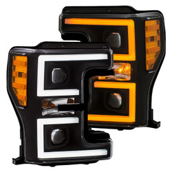 ANZO 111388 Ford Super Duty F250/ F350/ F450 17 - 18 Projector Plank Style Switchback Headlights BLACK / AMBER