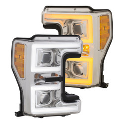 ANZO 111389 Ford Super Duty F250/ F350/ F450 17 - 18 Projector Plank Style Switchback Headlights CHROME / AMBER