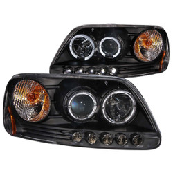 07-03 Ford F-150 Anzo Projector Headlight Housings with Halo - Black