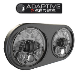 JW Speaker 8692 LED High & Low Beam Adaptive 2 Headlight Black w Black Inner Bezel - Pre-assembled 2 Light Kit