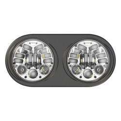 JW Speaker 8692 LED High & Low Beam Adaptive 2 Headlight Chrome w Black Inner Bezel - Pre-assembled 2 Light Kit