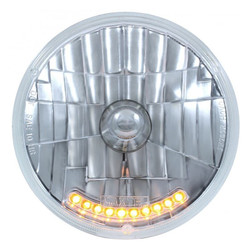 "United Pacific S2010LED 7"" Round Crystal Reflector Headlight with 10 Amber LEDs"