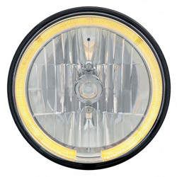 "United Pacific 31284 7"" Round Crystal Reflector Headlight with Amber LED Halo"