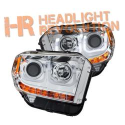 Anzo Toyota Tundra 14-17 Chrome Projector Headlights with U-Bar, With DRL