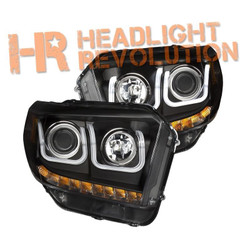 Anzo Toyota Tundra 14-17 Black Projector Headlights with U-Bar, With DRL