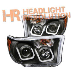 Anzo Toyota Tundra 07-13 and Sequoia 08-16 Black Projector Headlights with U-Bar