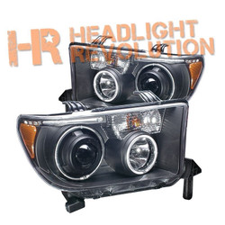 Anzo Toyota Tundra 07-13 and Sequoia 08-16 Projector Headlights with Halo - Black Housing