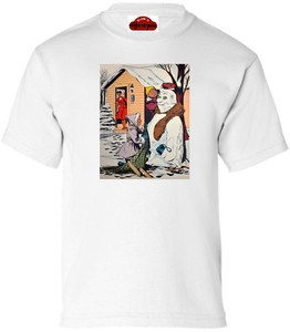 Afrotopia Girl's T-Shirt - Vintage Snow Man - White