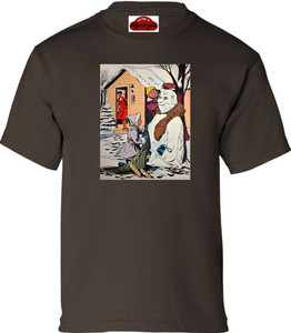 Afrotopia Girl's T-Shirt - Vintage Snow Man - Brown