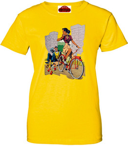 Afrotopia Women's T-Shirt - Vintage Bicycle - Yellow