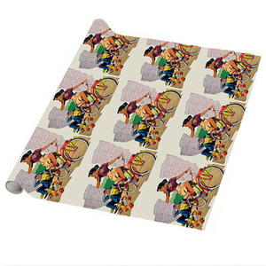 Afrotopia Wrapping Paper Sheets - Vintage Bicycle - Package Of 5
