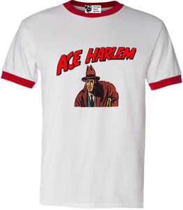 Vintage Black Heroes Men's T-Shirt - Ace Harlem - 4 - Red Ringer