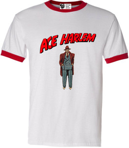 Vintage Black Heroes Men's T-Shirt - Ace Harlem - 6 - Red Ringer