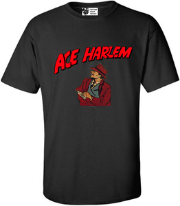 Vintage Black Heroes Men's T-Shirt - Ace Harlem - 8 - Black