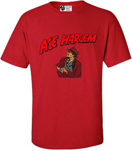 Vintage Black Heroes Men's T-Shirt - Ace Harlem - 8 - Red