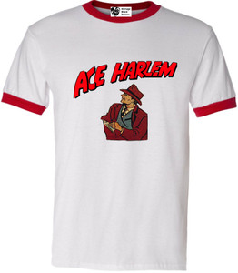 Vintage Black Heroes Men's T-Shirt - Ace Harlem - 8 - Red Ringer
