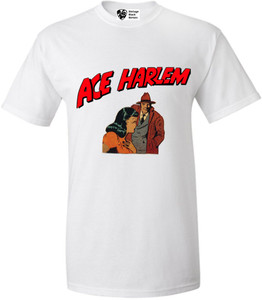 Vintage Black Heroes Men's T-Shirt - Ace Harlem - 15 - White