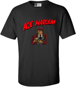 Vintage Black Heroes Men's T-Shirt - Ace Harlem - 16 - Black