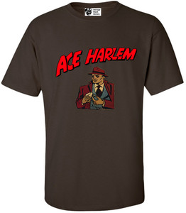 Vintage Black Heroes Men's T-Shirt - Ace Harlem - 16 - Brown