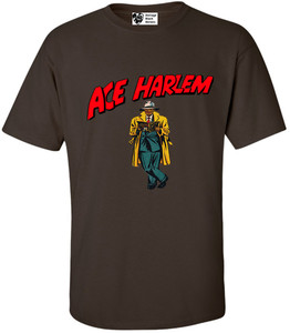 Vintage Black Heroes Men's T-Shirt - Ace Harlem - 17 - Brown