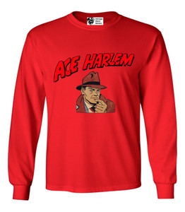 Vintage Black Heroes Men's Long Sleeved T-Shirt - Ace Harlem - 1 - Red