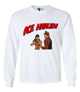 Vintage Black Heroes Men's Long Sleeved T-Shirt - Ace Harlem - 7 - White