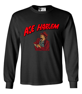 Vintage Black Heroes Men's Long Sleeved T-Shirt - Ace Harlem - 8 - Black