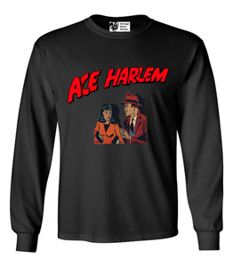 Vintage Black Heroes Men's Long Sleeved T-Shirt - Ace Harlem - 11 - Black