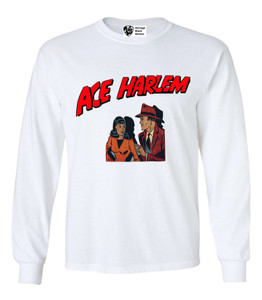 Vintage Black Heroes Men's Long Sleeved T-Shirt - Ace Harlem - 11 - White
