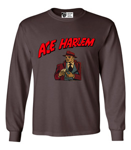 Vintage Black Heroes Men's Long Sleeved T-Shirt - Ace Harlem - 16 - Brown