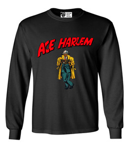 Vintage Black Heroes Men's Long Sleeved T-Shirt - Ace Harlem - 17 - Black