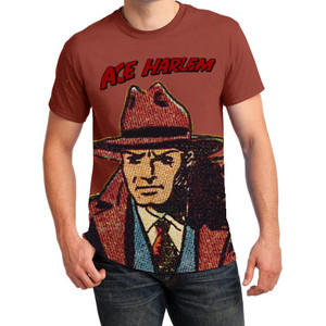 Vintage Black Heroes Men's T-Shirt - Ace Harlem - 4 - Rusty Bronze