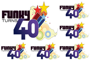 Funky Turns 40 Sticker Sheet