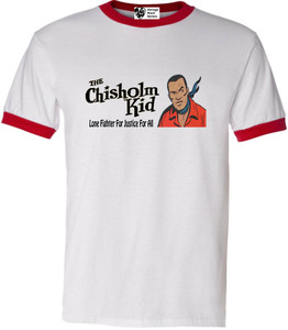 Vintage Black Heroes Men's T-Shirt - The Chisholm Kid - 3 - Red Ringer