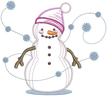 Snowman with Dancing Snowflakes - Snowman #10 Machine Embroidery Design