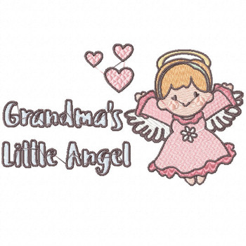 Grandma's Happy Little Angel - Little Angels Typography #05 Machine Embroidery Design