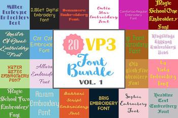 20 VP3 Font Bundle - Volume 1 - 20 Husqvarna Viking Machine Embroidery Fonts