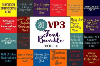 20 VP3 Font Bundle - Volume 4 - 20 Husqvarna Viking Machine Embroidery Fonts