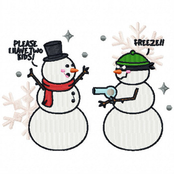 Burglar Snowman - Funny Snowman #07 Machine Embroidery Design