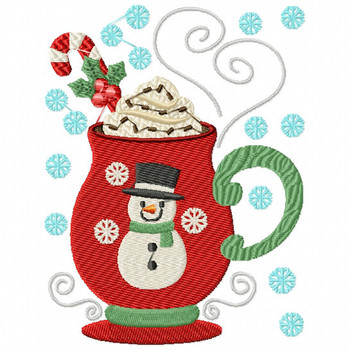 Sweet Snowman Drink - Christmas Hot Drinks #01 Machine Embroidery Design