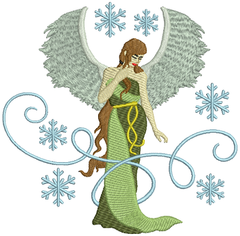 Green Dressed Angel - Christmas Angel #02 Machine Embroidery Design