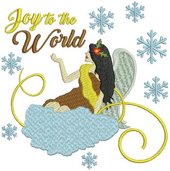 Joy to the World Angel - Christmas Angel #03 Machine Embroidery Design