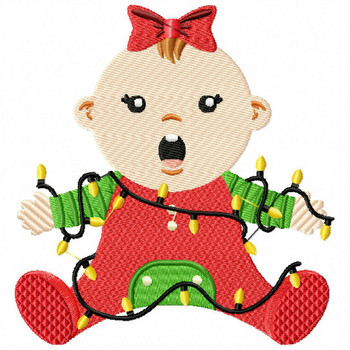 Christmas Light Baby - Christmas Baby #07 Machine Embroidery Design
