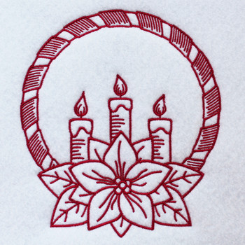 Christmas Candle Wreath - Christmas RedWork #02 Machine Embroidery Design