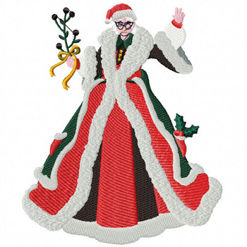 Mrs. Claus - Christmas Scene #01 Machine Embroidery Design