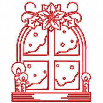 Window - Christmas Redwork #06 Machine Embroidery Design