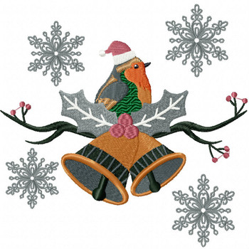 Christmas Robin #06 Machine Embroidery Design