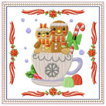 Ginger Bread Mug Rug #03 In The Hoop Machine Embroidery Design