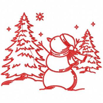 Christmas Snowman - Christmas Redwork #08 Machine Embroidery Design